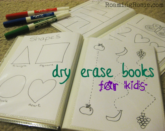 DIY dry erase books for kids