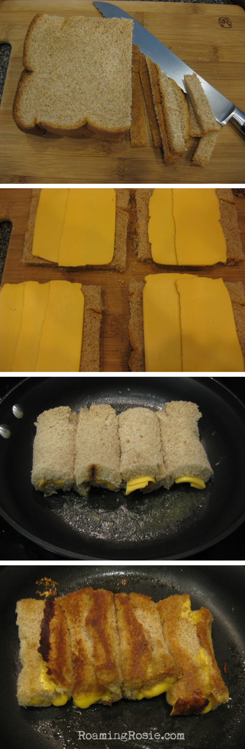 making grilled cheese rolls