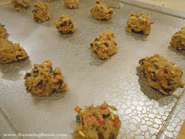 Elf Sized Chocolate Chip Confetti Cookies