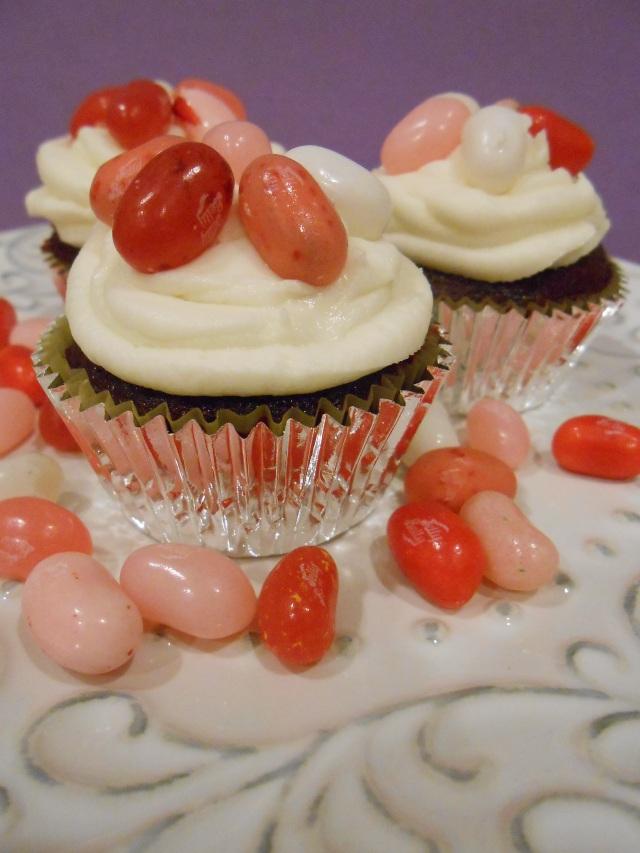 Red Velvet Jelly Bean Cupcakes for Valentine's Day