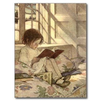 Child Reading a Book Vintage Art