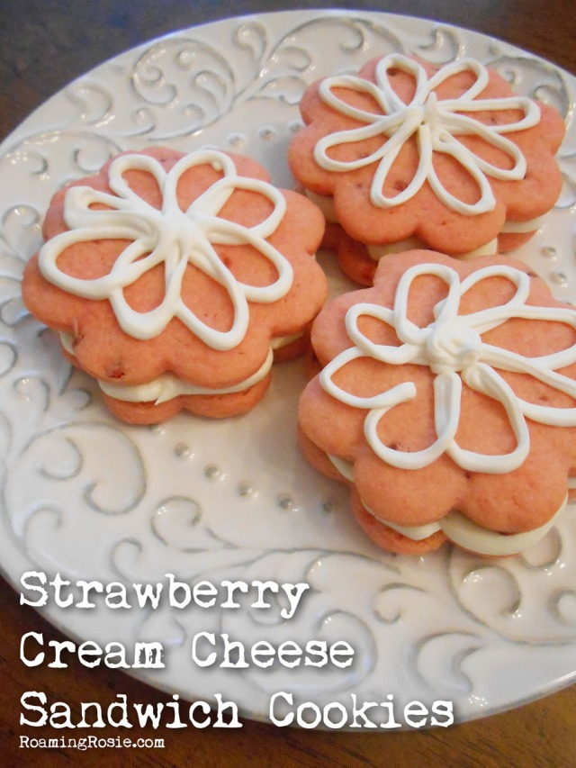 Strawberry Cream Cheese Sandwich Cookies