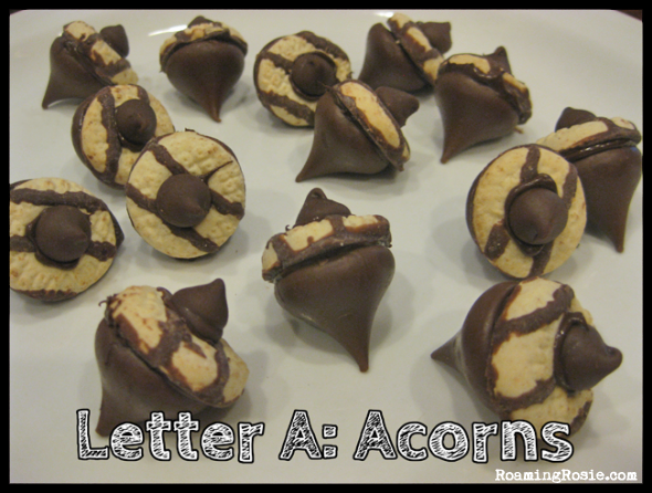 Letter A is for Chocolate Acorns {Alphabet Activities at RoamingRosie.com}