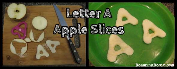 Letter A Apple Slices {Alphabet Activities at RoamingRosie.com}