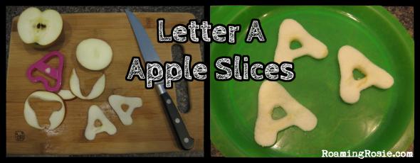 Letter A Apple Slices {Alphabet Activities at RoamingRosie.com}