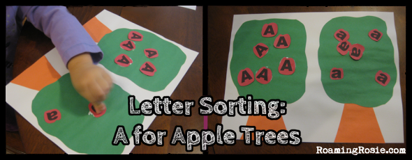 Letter Sorting: A is for Apple Trees {Alphabet Activities at RoamingRosie.com}