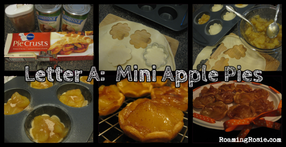 Letter A is for Mini Apple Pies {Alphabet Activities at RoamingRosie.com}