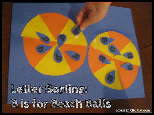 Letter Sorting:  B is for Beach Balls {Alphabet Activities at RoamingRosie.com}