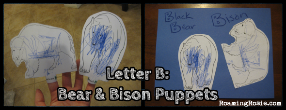 B is for Bear and Bison Finger Puppets  {Alphabet Activities at RoamingRosie.com}