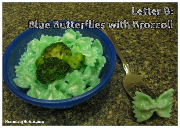 B is for Blue Bowtie Noodles with Broccoli {Alphabet Activities at RoamingRosie.com}