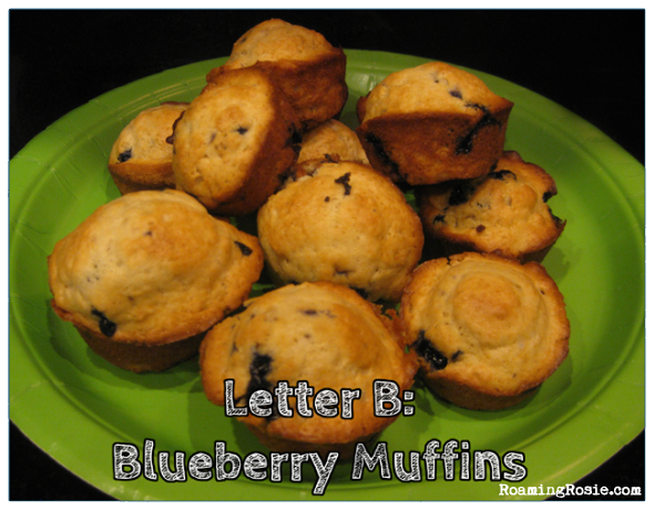 B is for Blueberry Muffins {Alphabet Activities at RoamingRosie.com}
