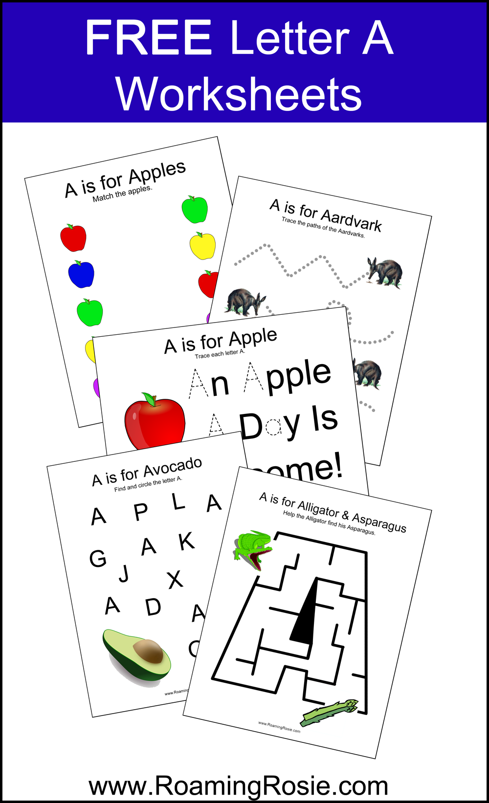 Letter A: Free Alphabet Worksheets For Kids Roaming Rosie