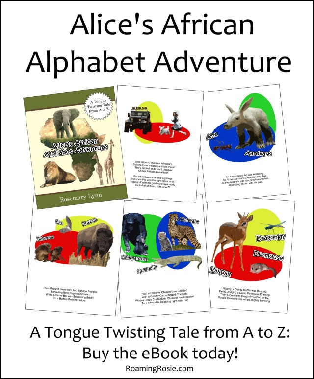 Alice's African Alphabet Adventure by Rosemary Lynn {ebook for kids at RoamingRosie.com}