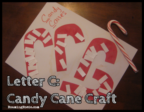 C is for Candy Cane Craft {Alphabet Activities at RoamingRosie.com}