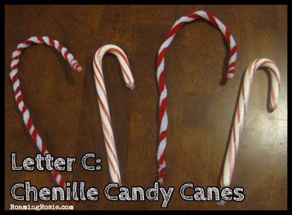 C is for Chenille Candy Canes {Alphabet Activities at RoamingRosie.com}