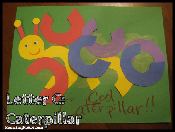 C is for Caterpillar {Alphabet Activities at RoamingRosie.com}