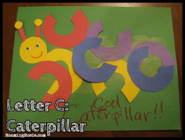 C is for Caterpillar {Alphabet Activities at RoamingRosie.com}