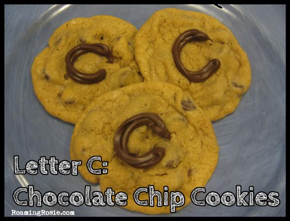 C is for Chocolate Chip Cookies {Alphabet Activities at RoamingRosie.com}