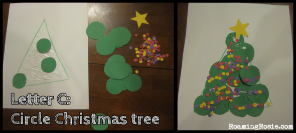 C is for Circle Christmas Trees {Alphabet Activities at RoamingRosie.com}