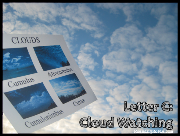 C is for Cloud Watching {Alphabet Activities at RoamingRosie.com}