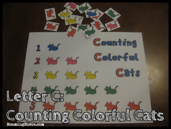 C is for Counting Colorful Cats {Alphabet Activities at RoamingRosie.com}