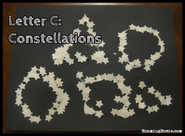 C is for Constellations {Alphabet Activities at RoamingRosie.com}
