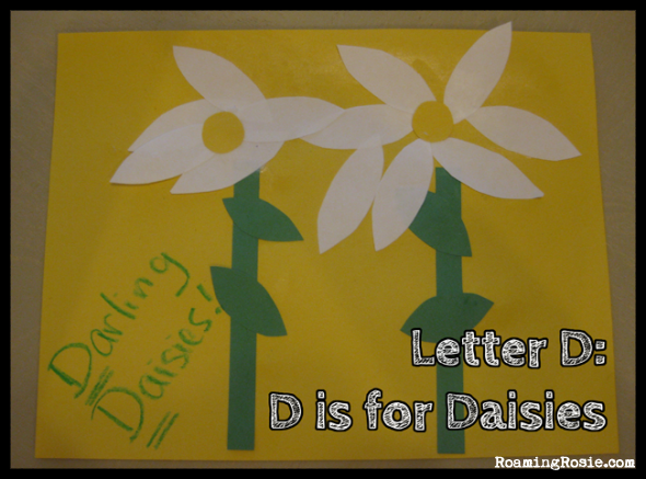 D is for Daisies {Alphabet Activities at RoamingRosie.com}