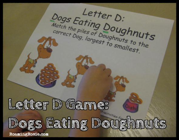 D is for Dogs Eating Doughnuts File Folder Game {Alphabet Activities at RoamingRosie.com}