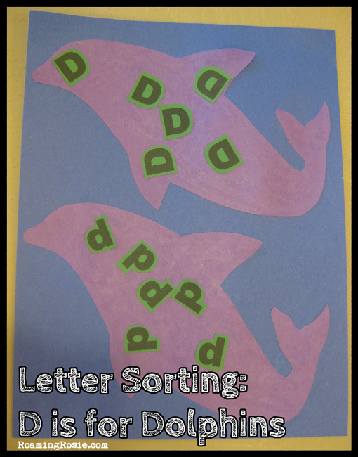 Letter Sorting:  D is for Dolphins {Alphabet Activities at RoamingRosie.com}