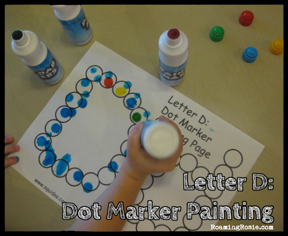 D is for Dots  {Alphabet Activities at RoamingRosie.com}