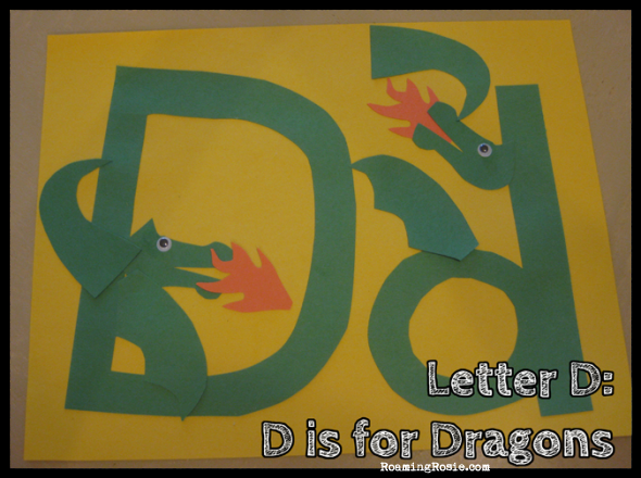 D is for Dragons {Alphabet Activities at RoamingRosie.com}
