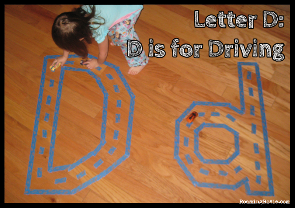 D is for Driving  {Alphabet Activities at RoamingRosie.com}
