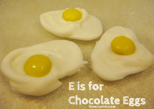 E is for Chocolate Eggs {Alphabet Activities at RoamingRosie.com}
