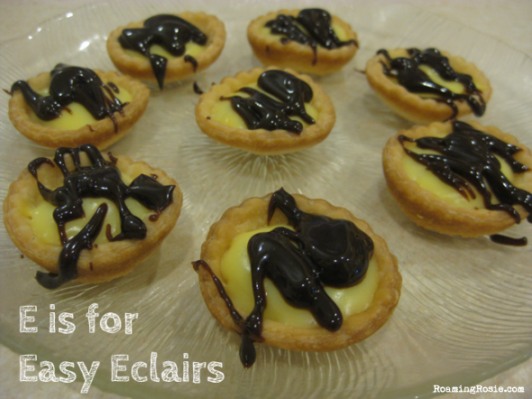 E is for Easy Eclairs {Alphabet Activities at RoamingRosie.com}