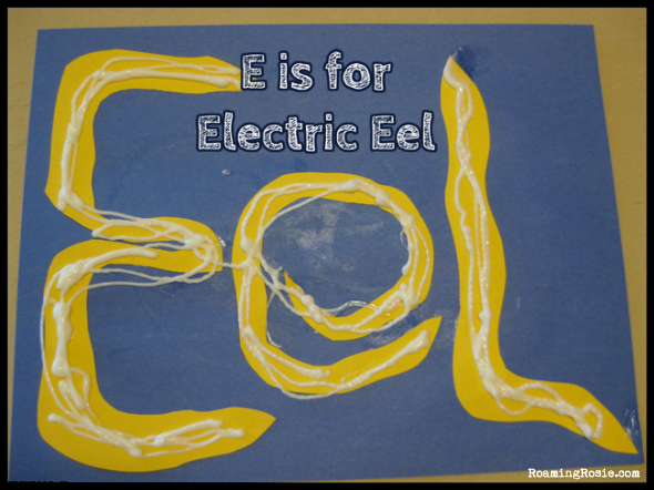 E is for Electric Eels  {Alphabet Activities at RoamingRosie.com}