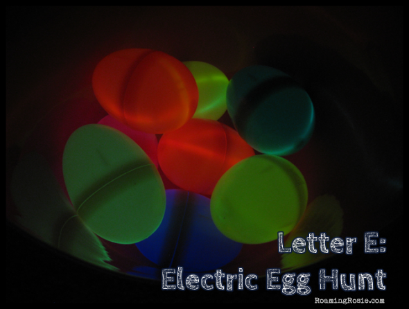 E is for Electric Eggs Hunt {Alphabet Activities at RoamingRosie.com}