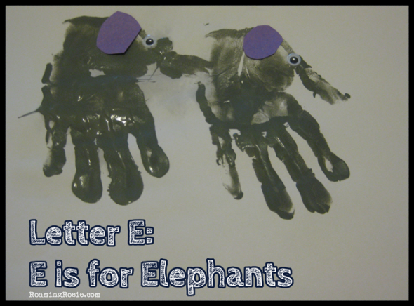 E is for Elephants  {Alphabet Activities at RoamingRosie.com}