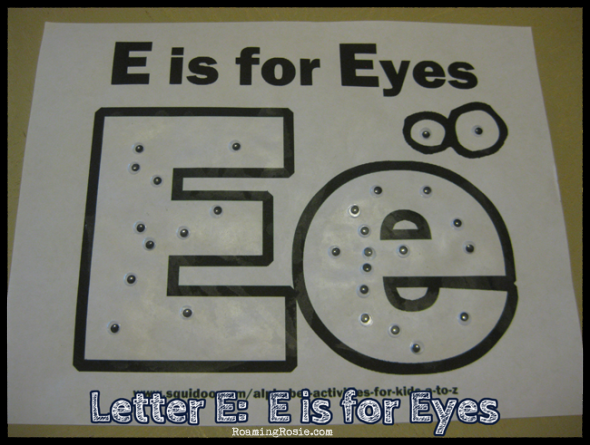 E is for Eyes {Alphabet Activities at RoamingRosie.com}