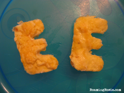 E is for Scrambled Eggs {Alphabet Activities at RoamingRosie.com}