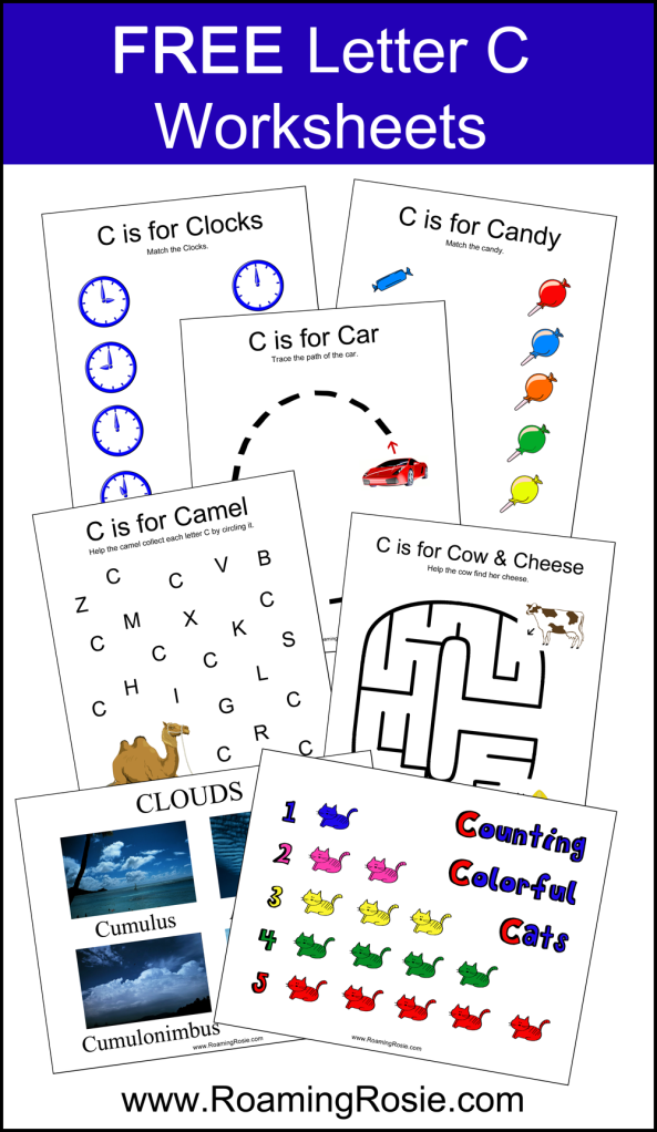 FREE Printable Letter C Alphabet Activities Worksheets at RoamingRosie.com