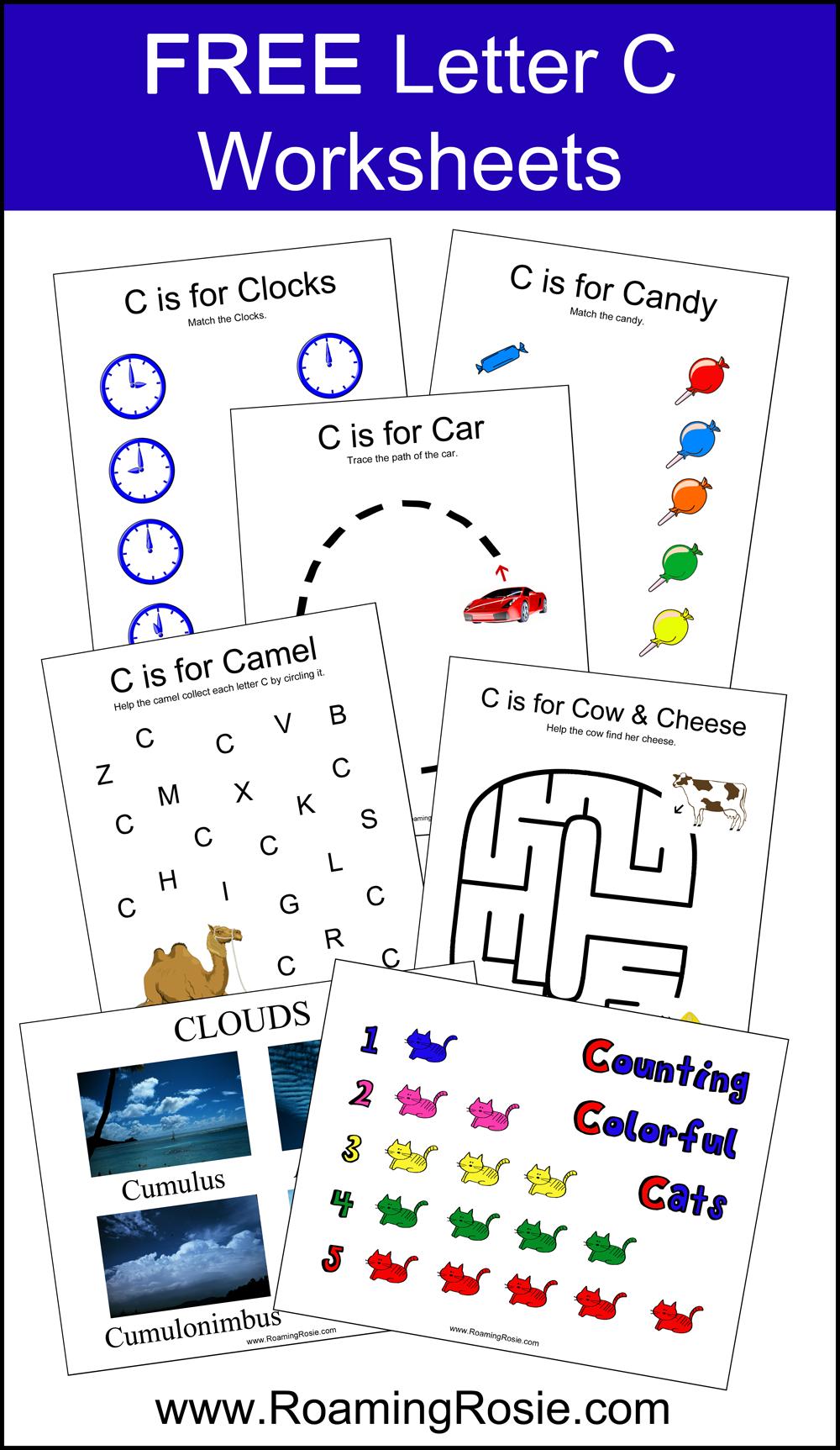 math worksheet : letter c free alphabet worksheets for kids  roaming rosie : Letter C Worksheets For Kindergarten