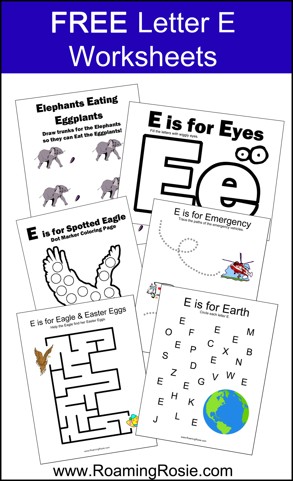 letter e free alphabet worksheets for kids roaming rosie. Black Bedroom Furniture Sets. Home Design Ideas