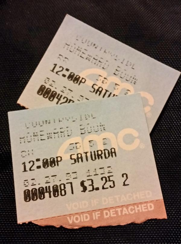 Homeward Bound Movie Ticket Stubs