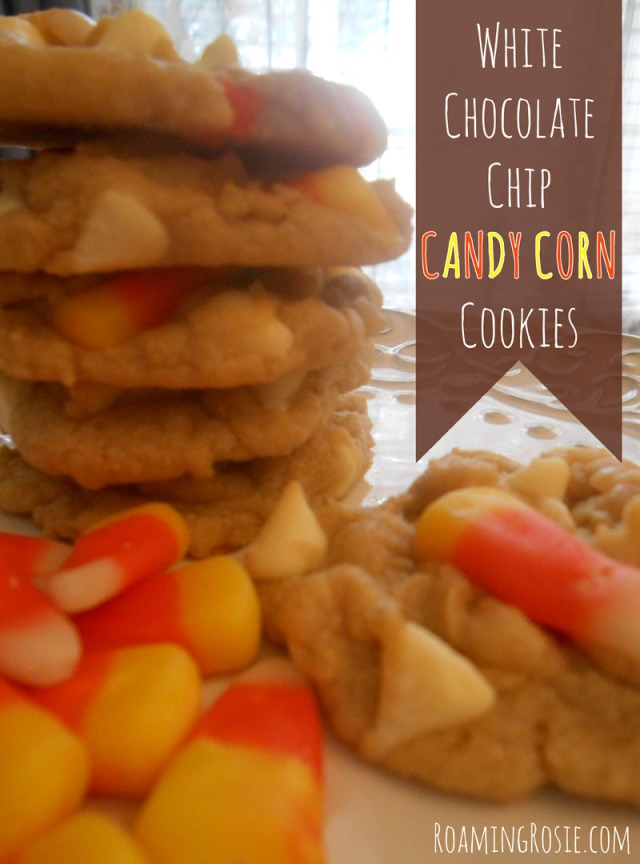 White Chocolate Chip Cookies with Candy Corn at RoamingRosie.com