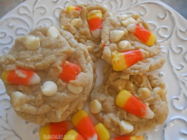 White Chocolate Chip Cookies with Candy Corn