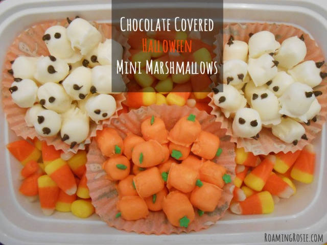 Chocolate Covered Halloween Ghost and Pumpkin Mini Marshmallows