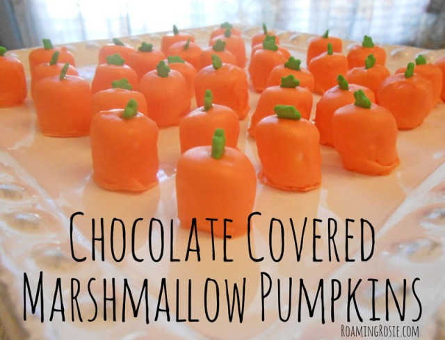Chocolate Covered Marshmallow Pumpkins and Candy Corn