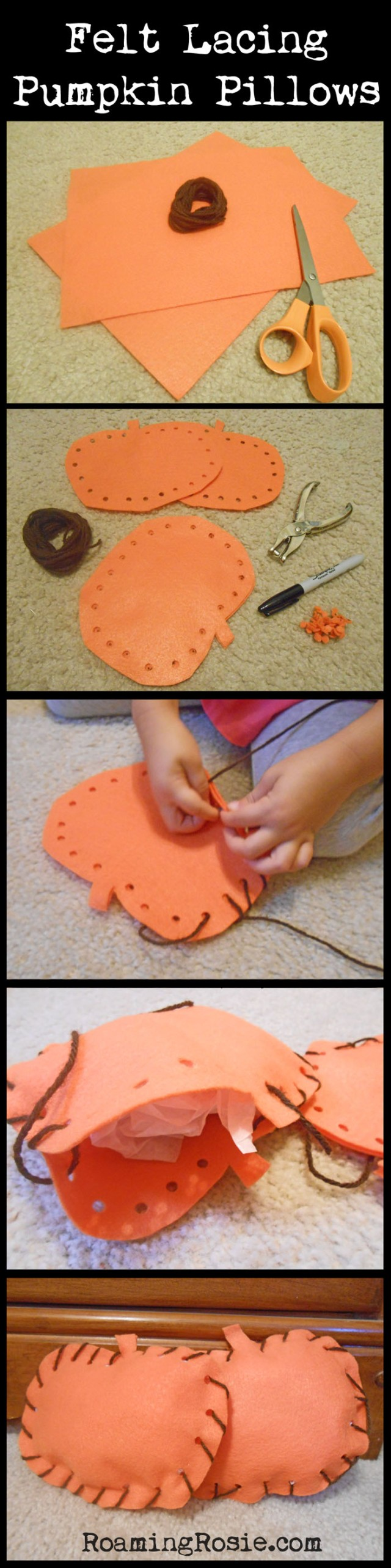 Felt Lacing Pumpkin Pillows