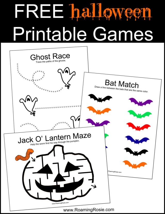 FREE Halloween Printable Games at RoamingRosie.com
