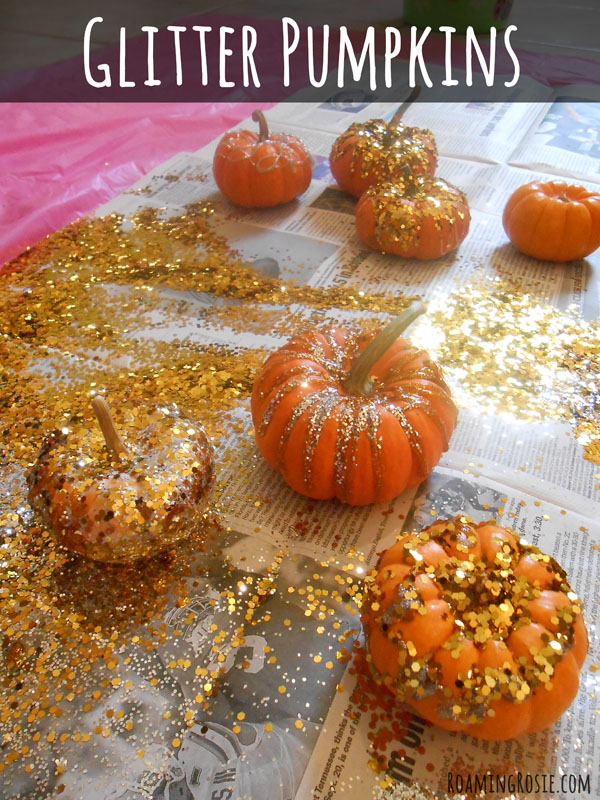 Halloween Glitter Pumpkin Decorating